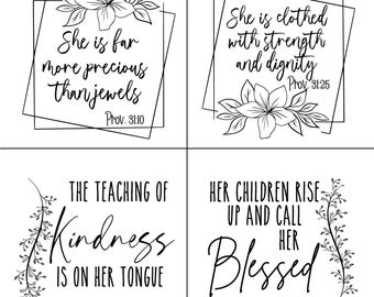 "Magnolia Design Co-Proverbs 31-Reusable Adhesive Silkscreen Stencil 10"" X 10""-Chalk Art DIY"