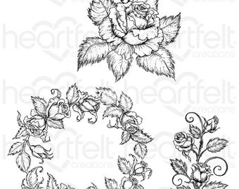 Heartfelt Creations Classic Rose Bouquet Cling Stamp Set HCPC-3754