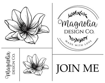 "Magnolia Design Co-Magnolia Logo-Reusable Adhesive Silkscreen Stencil 8.5"" X 11""-Chalk Art DIY"