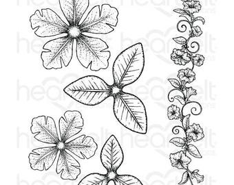 Heartfelt Creations Large Classic Petunia Cling Stamp Set HCPC-3786