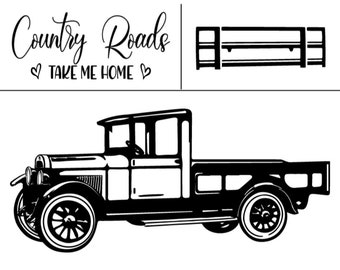 "Magnolia Design Co-Farm Truck-Reusable Adhesive Silkscreen Stencil 8.5"" X 11""-Chalk Art DIY"