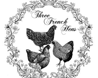 "Magnolia Design Co-Three French Hens-Reusable Adhesive Silkscreen Stencil 15"" x 15""-Chalk Art DIY"