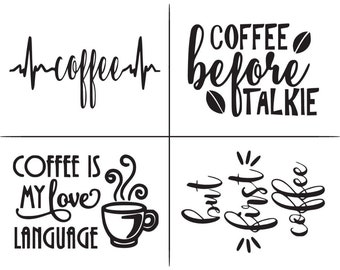 "Magnolia Design Co-Coffee-Reusable Adhesive Silkscreen Stencil 8.5"" X 11""-Chalk Art DIY"
