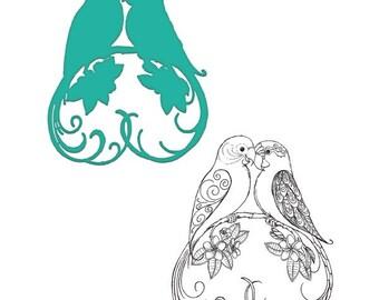 Heartfelt Creations Lovebirds Stamp and Die Combo HCSD1-2016