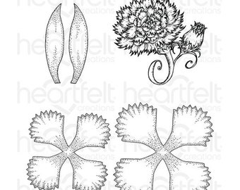 Heartfelt Creations Large Camelia Carnation Stamp Set HCPC-3807
