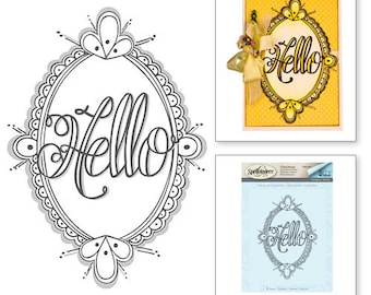 Spellbinders Hello Ornate 3d Shading Stamp from the Happy Grams #2 Collection by Tammy Tutterow DSC-041