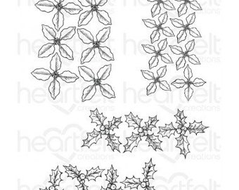 Heartfelt Creations Poinsettia & Holly Clusters Cling Stamp Set HCPC-3822