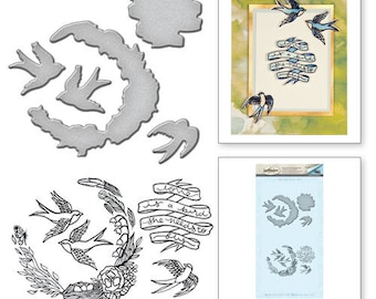 Spellbinders Swallow Stamp and Die Set from the Spring Love Collection by Stephanie Low SDS-065