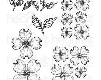 "Heartfelt Creations ""Flowering Dogwood"" Cling Stamp Set HCPC-3773"
