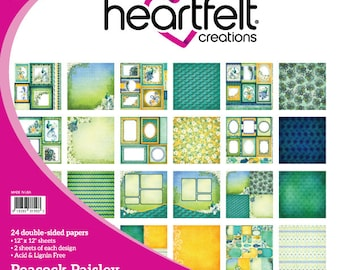 Heartfelt Creations Peacock Paisley Paper Collection HCDP1-252
