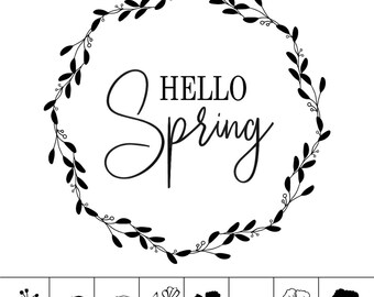 "Magnolia Design Co-Hello Spring-Reusable Adhesive Silkscreen Stencil 15"" x 15""-Chalk Art DIY"