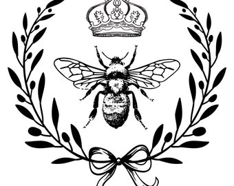 """Magnolia Design Co-Queen Bee-Reusable Adhesive Silkscreen Stencil 15"""" x 15""""-Chalk Art DIY"""