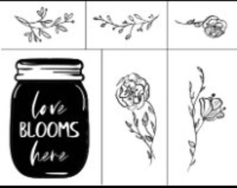 "Magnolia Design Co-Love Blooms Here-Reusable Adhesive Silkscreen Stencil 8.5"" x 11""-Chalk Art DIY"