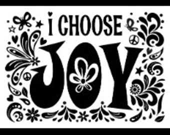 "Magnolia Design Co-Choose Joy-Reusable Adhesive Silkscreen Stencil 8.5"" x 11""-Chalk Art DIY"