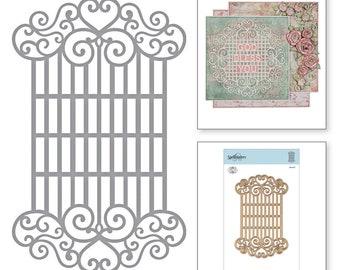 Spellbinders Shapeabilities Swirl Latice Panel Etched Dies Blooming Garden by Marisa Job S4-917