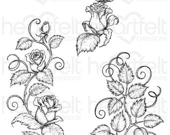 Heartfelt Creations Classic Rose Vines Cling Stamp Set HCPC-3753