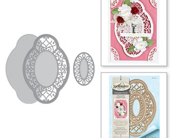 Spellbinders Shapeabilities Hannah Elise Layering Frame Small Etched Dies Chantilly Paper Lace Collection by Becca Feeken S5-329