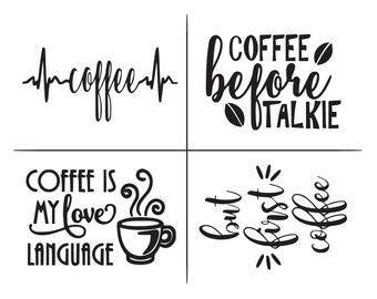 """Magnolia Design Co-Coffee-Reusable Adhesive Silkscreen Stencil 8.5"""" X 11""""-Chalk Art DIY"""
