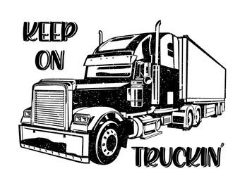 "Magnolia Design Co-Keep On Trucking-Reusable Adhesive Silkscreen Stencil 8.5"" x 11""-Chalk Art DIY"