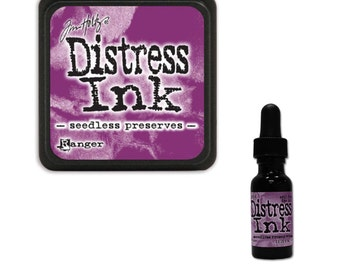 Tim Holtz Ranger Distress Ink Duo-Seedless Preserves-Ink Pad and Reinker Bundle