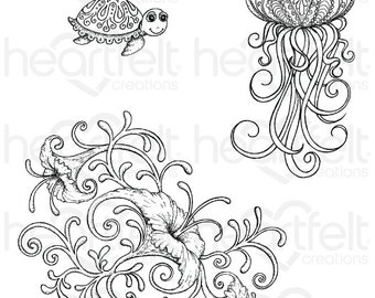 Heartfelt Creations Under the Sea Coral Cling Stamp Set HCPC-3737