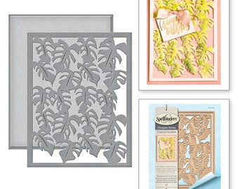Spellbinders Card Creator Monstera Leaf Card Front Etched Dies Tropical Paradise by Lene Lok S5-283