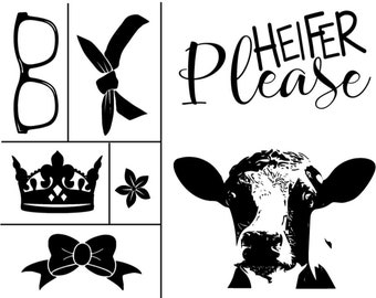 "Magnolia Design Co-Heifer Please-Reusable Adhesive Silkscreen Stencil 8.5"" X 11""-Chalk Art DIY"