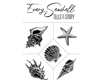 """Magnolia Design Co-Every Sea Shell-Reusable Adhesive Silkscreen Stencil 12"""" x 18""""-Chalk Art DIY"""