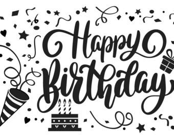 "Magnolia Design Co-Happy Birthday-Reusable Adhesive Silkscreen Stencil 5""X7""-Chalk Art DIY"