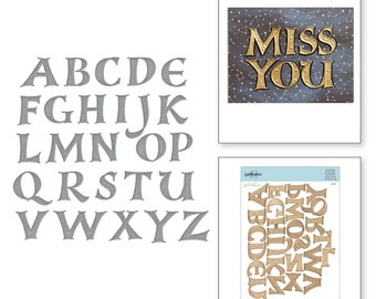 Spellbinders Dies - On the Wings of Love Collection - Etched Dies - Alphabet S7-214