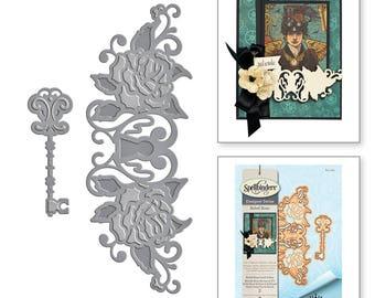 Spellbinders Shapeabilities Rebel Rose Lock & Key Etched Dies Rebel Rose by Stacey Caron S4-769