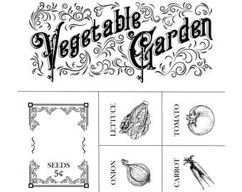 """Magnolia Design Co-Vegetable Garden-Reusable Adhesive Silkscreen Stencil 18"""" x 18""""- Chalk Art DIY"""