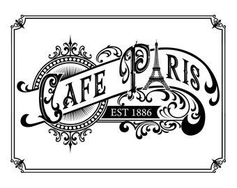 """Magnolia Design Co-Cafe Paris-Reusable Adhesive Silkscreen Stencil 8.5"""" x 11""""-Chalk Art DIY"""