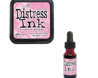 Tim Holtz Ranger Distress Ink Duo-Kitsch Flamingo-Ink Pad and Re-inker Bundle