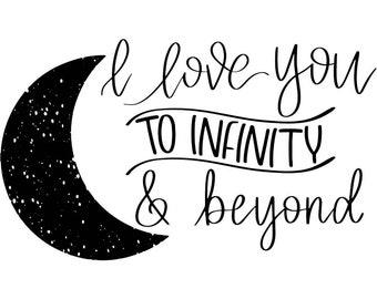 "Magnolia Design Co-I Love You to Infinity-Reusable Adhesive Silkscreen Stencil 8.5"" X 11""-Chalk Art DIY"