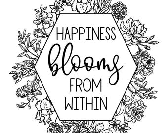 "Magnolia Design Co-Happiness Blooms-Reusable Adhesive Silkscreen Stencil 8.5"" X 11""-Chalk Art DIY"