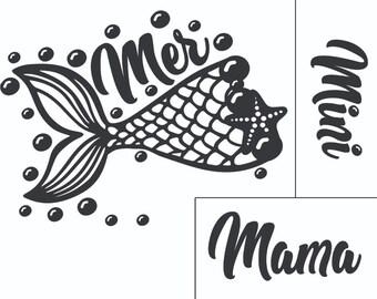 "Magnolia Design Co-Mermama/mini-Reusable Adhesive Silkscreen Stencil 8.5"" X 11""-Chalk Art DIY"