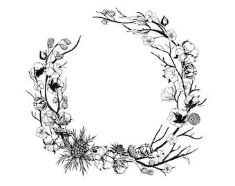 """Magnolia Design Co-Cotton Wreath-Reusable Adhesive Silkscreen Stencil 15"""" x 15""""-Chalk Art DIY"""