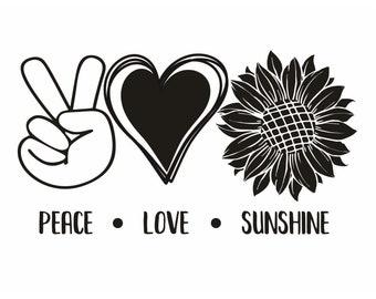 "Magnolia Design Co-Peace Love Sunshine-Reusable Adhesive Silkscreen Stencil 8.5"" X 11""-Chalk Art DIY"
