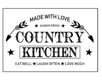 """Magnolia Design Co-Country Kitchen-Reusable Adhesive Silkscreen Stencil 12"""" x 18""""-Chalk Art DIY"""