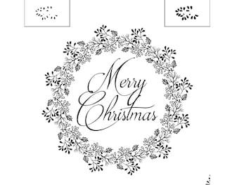 """Magnolia Design Co-Christmas Wreath-Reusable Adhesive Silkscreen Stencil 12"""" X 12""""-Chalk Art DIY"""