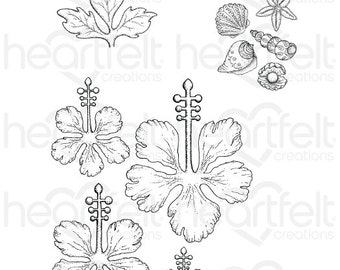 Heartfelt Creations Tropical Hibiscus Cling Stamp Set HCPC-3736