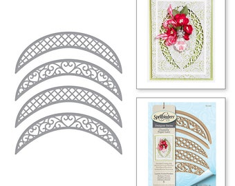 Spellbinders Shapeabilities Lunette Arched Borders Etched Dies Chantilly Paper Lace Collection by Becca Feeken S5-330