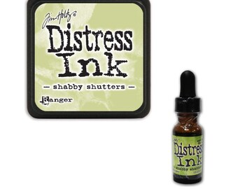 Tim Holtz Ranger Distress Ink Duo-Shabby Shutters-Ink Pad and Reinker Bundle