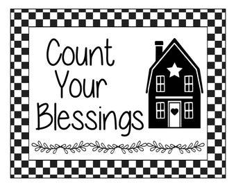"Magnolia Design Co-Count Your Blessings-Reusable Adhesive Silkscreen Stencil 8.5"" X 11""-Chalk Art DIY"