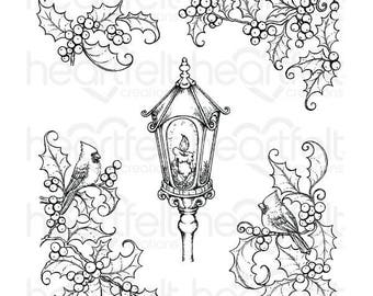 Heartfelt Creations Festive Holly & Cardinals Cling Stamp Set HCPC-3791
