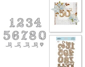 Spellbinders Shapeabilities Filigree Numbers Etched Dies Elegant 3D Vignettes by Becca Feeken S6-141