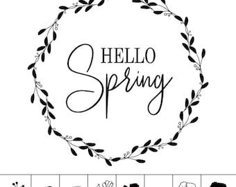 """Magnolia Design Co-Hello Spring-Reusable Adhesive Silkscreen Stencil 15"""" x 15""""-Chalk Art DIY"""