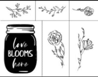 "Magnolia Design Co-Love Blooms Here-Reusable Adhesive Silkscreen Stencil 8.5"" x 11""-Chalk Art DIY"