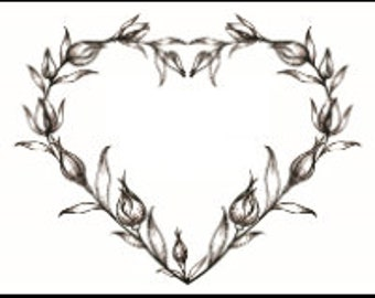 """Magnolia Design Co-Tulip Heart-Reusable Adhesive Silkscreen Stencil 8.5"""" X 11""""-Chalk Art DIY"""